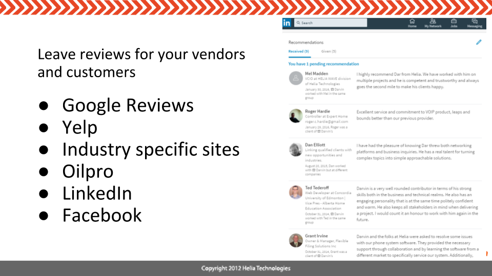 Leave Online Reviews for Others